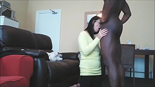 Horny wife trying to suck her first BBC
