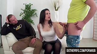 Pretty Housewife Kirschley Swoon Mounts a Hard Cock with Cuckolds Support