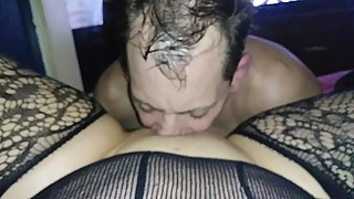 Wife and I rollplay fucking and eating sucking BBC