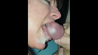 Wife cleans boyfriend's big cock after he blows on her slut mouth