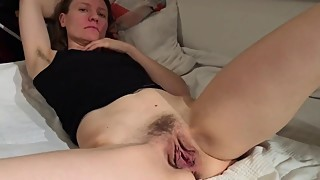 Slut wife claire shows her small tits and big wet pussy