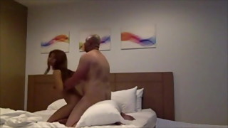 Asian wife fucked while husband watcher on skype