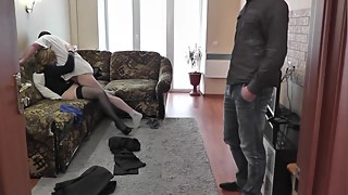 Boss fucks my wife. Cuckold husband watching sex wife lover Cumshot Treason
