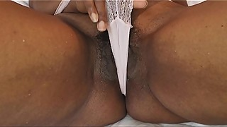 Hot black wife wet panties pussy play