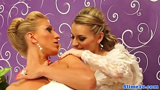 Euro brides cum covered in gloryhole trio