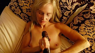 dirty talking cheating white milf wife jerking bbc begs for facial cumshot