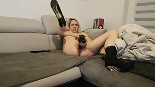Tiffany slut wife destroy pussy with bbc dildo