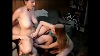 Lucky husband fucks his 18yo roommate and then horny busty wife