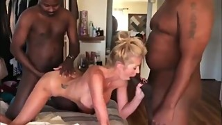 Husband films his american wife enjoying two BBC on vacation