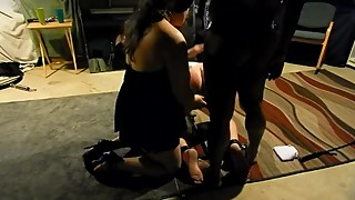 Wife helps BBC bull fuck bound hubby
