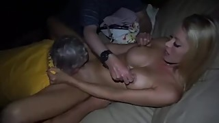 Hubby shared his beauty blonde cuckold hotwife with two older men