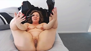 Slutty housewife Ava with high heels fingers pierced cunt