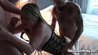 Sexy wife shared with 3 guys in hotel room (1)