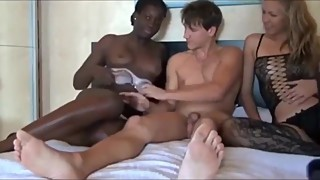 Lucky husband fucks his naughty wife and their new black neighbor bitch