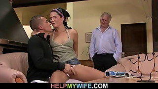 Blindfolded wife gets a cuckolding surprise