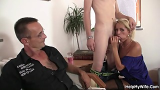 Hot-looking blonde wife cuckolds husband