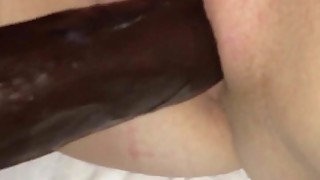 Black Dildo and Vibrator - Very wet and swollen pussy