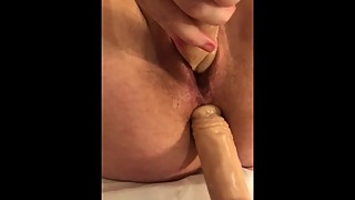 Wife does Double HUGE Dildo penetration in Pussy and Ass and Squirts Close