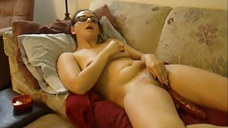 Slut wife strips down and fucks herself with a dildo