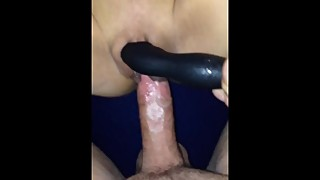 Toy fucks slut wife's wet pussy before fuck