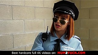 Sexy cougar Alexa Nova in police uniform cheating her husband with two prisoners