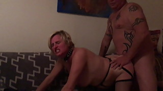 Piggy slutwife  happily fucked by guest