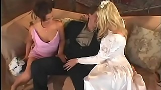 Happy husband is happy while fucks his bride Michelle B with her girlfriend Isabel Ice in all holes