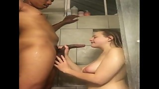 wife sucks black cock in the Shower