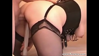 Chubby Slutwife In Nylons Drilled In Fartbox & Creamed