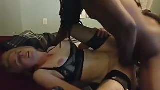 Husband films his crazy wife gets amazing creampie from black bull