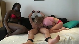 Lucky husband having fun with his wife and new black roommate bitch