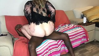 Masked slut wife tease, sucks, and fuck BBC and gets facial