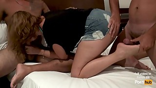 Sharing my hot wife Andrea with a Tinder guy! Cuckold footjob! Promo