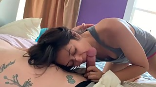 Early morning blow job and sex from wife