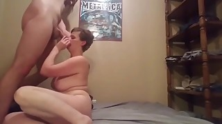 Cheating mature busty wife having fun with her young roommate guy