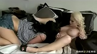 Hot &amp_ Mean brunette lesbian fucks blonde wife with strap-on