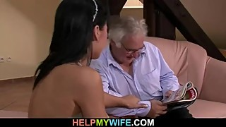 Very old hubby calls a guy to fuck his young wife