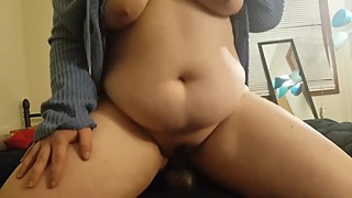Chubby wife sucks BBC dildo POV, then rides it till she squirts