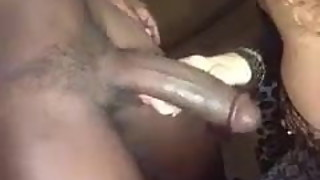Hotwife playing with a real man's Black cock