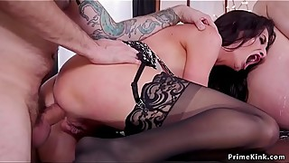 Tattooed male fucks wife and step daughter