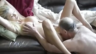 Hubby shared his beauty blonde cute cuckold hotwife with old man