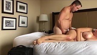 Busty and sexy wife cheating on husband with his best friend
