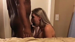 My busty and sexy wife cheating on me with her black boss with creampie
