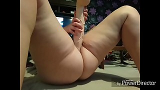 Jjslutwife fucks her cunt with a HUGE DILDO