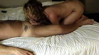 Slutwife Kelly worships her boss' cock and balls while her s