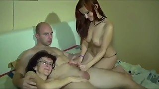 Lucky husband fucks his young wife and her mature mother