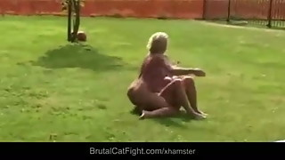 Cheated wife and slutty blonde mistress catfight rough