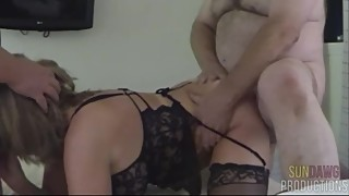 Wife Spit Roasted & Ass Fucked