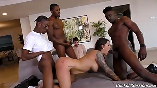tied cuckold watches big tit wife in bbc gangbang and is made to cleanup